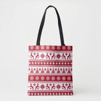 Weihnachtsfeiertags-nordisches Muster gemütlich Tasche