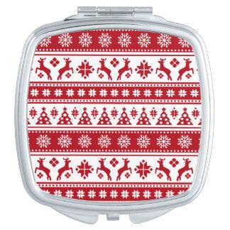 Weihnachtsfeiertags-nordisches Muster gemütlich Taschenspiegel