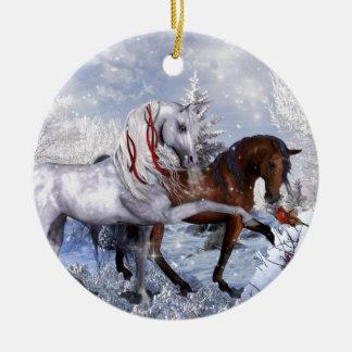 Weihnachtsfeiertags-Pferde Keramik Ornament