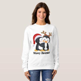 Weihnachtsfeiertags-Pinguine küssend, addieren Sie Sweatshirt