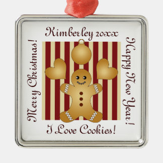 Weihnachtsfeiertags-Plätzchen-rote Streifen Silbernes Ornament