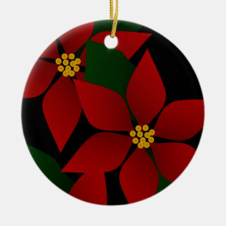 Weihnachtsfeiertags-Poinsettia-Verzierung Keramik Ornament