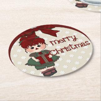 Weihnachtsfeiertags-Puppen-Party Barware Runder Pappuntersetzer