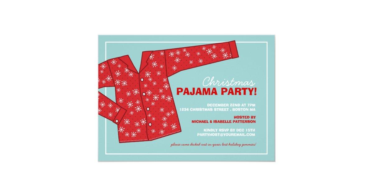 weihnachtsfeiertags pyjama party einladung zazzle. Black Bedroom Furniture Sets. Home Design Ideas