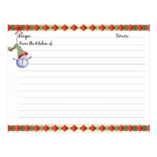 Weihnachtsfeiertags-Rezept-Karten Postkarte
