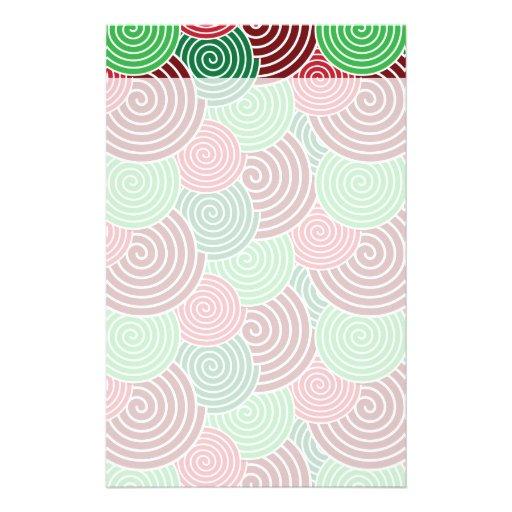 Weihnachtsfeiertags-rotes Grün-Spiralen-Muster Büropapiere