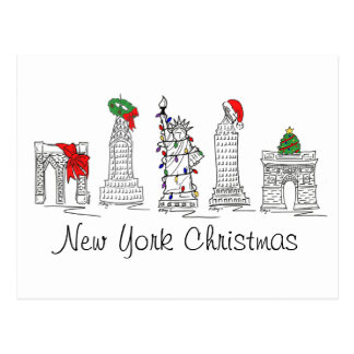 Weihnachtsfeiertags-Sehenswürdigkeiten New- York Postkarte
