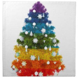 Weihnachtsfeiertagsbaum färbt glückliche Freude Serviette