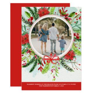 WeihnachtsfeiertagspoinsettiablumenFotokarte Karte