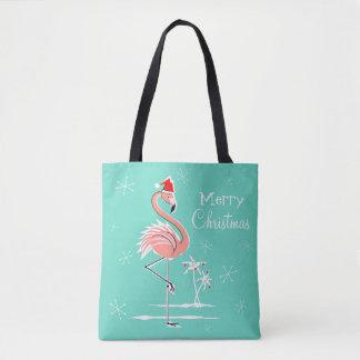 Weihnachtsflamingo-frohe Weihnachten ganz über Tasche