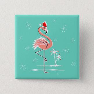 Weihnachtsflamingo-Knopfquadrat Quadratischer Button 5,1 Cm