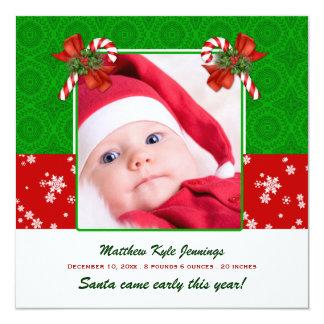 WeihnachtsFoto-Geburts-Mitteilung Quadratische 13,3 Cm Einladungskarte