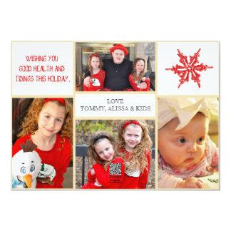 WeihnachtsFoto-Karte - 4 Fotos Front u. Rückseite 12,7 X 17,8 Cm Einladungskarte