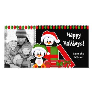 WeihnachtsFoto-Karteniedliche Penguins Karte