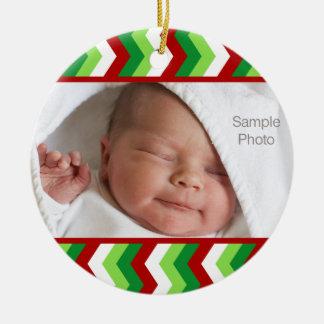 WeihnachtsFoto-rote und grüne Zickzack-Verzierung Keramik Ornament