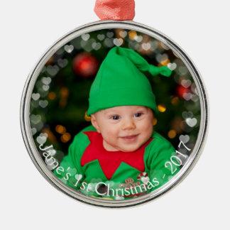 WeihnachtsFoto-sich hin- und herbewegende Silbernes Ornament
