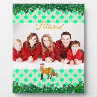 Weihnachtsfox-Polka-Punkt aquamarin Fotoplatte