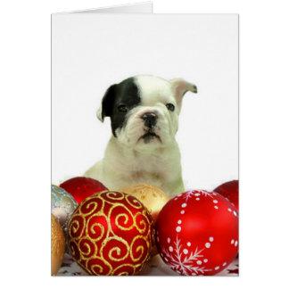 Weihnachtsfranzösische Bulldogge Mitteilungskarte