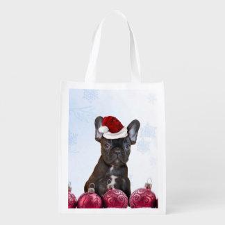 Weihnachtsfranzösische Bulldogge Tragetaschen