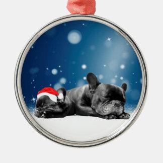 Weihnachtsfranzösische Silbernes Ornament