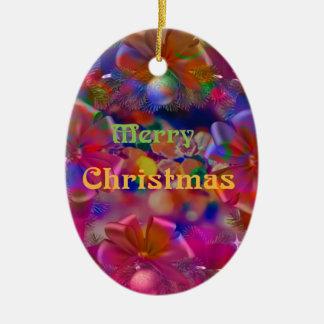 Weihnachtsfreude Ovales Keramik Ornament
