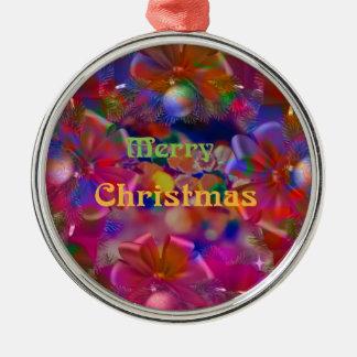 Weihnachtsfreude Rundes Silberfarbenes Ornament