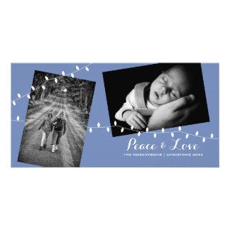 Weihnachtsfrieden + Baby-Blau-Foto-Karte der Karte
