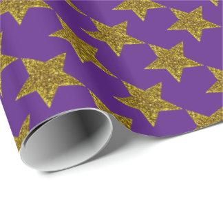 Weihnachtsfunkelnd Sterne auf dunklem Veilchen Geschenkpapier