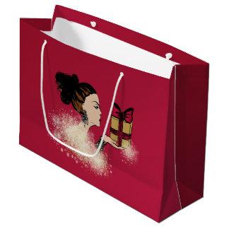 Weihnachtsfunkelnde Modeillustration Große Geschenktüte