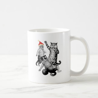 Weihnachtsfußball, der Katzen spielt Kaffeetasse