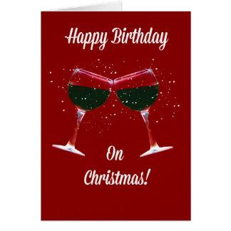 Weihnachtsgeburtstags-Karte, die Wein-Gläser Karte