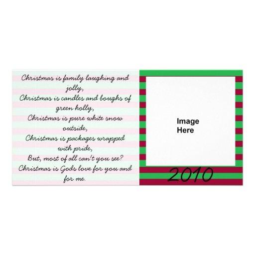 Weihnachtsgedicht-rote und grüne Fotokarte