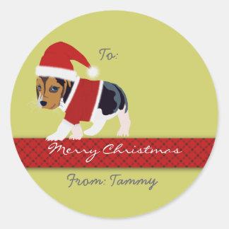 Weihnachtsgeschenk-Aufkleber (Hund) - kundengerech