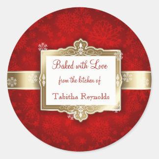 Weihnachtsgeschenk-Aufkleber, schönes Rot und Gold Runder Aufkleber