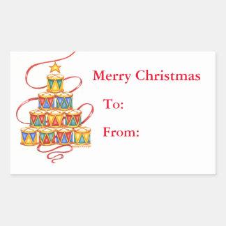 Weihnachtsgeschenk beschriftet Baum der Trommeln Rechteckiger Aufkleber