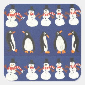 Weihnachtsgeschenk-Packpapier Quadratischer Aufkleber