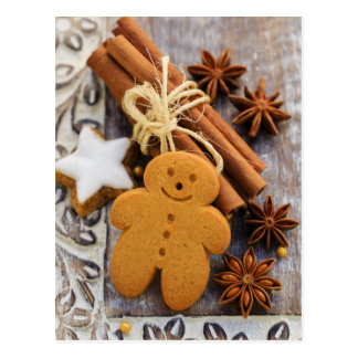 Weihnachtsgewürze, Ingwer und Anis-Sterne Postkarte