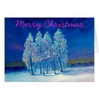 Weihnachtsgezierte Bäume Grußkarte