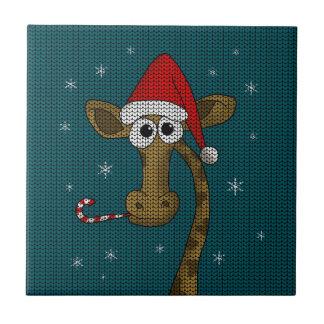 Weihnachtsgiraffe Keramikfliese