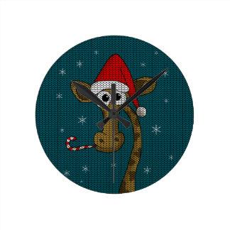Weihnachtsgiraffe Runde Wanduhr