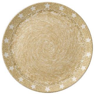 WeihnachtsGlitter-Platte mit Stern-Grenze Teller