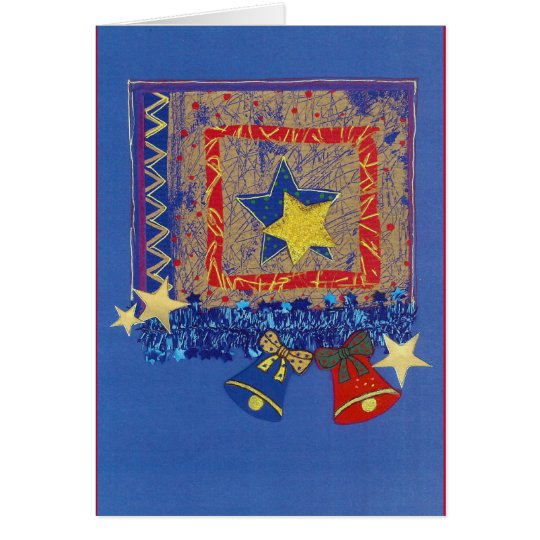 Weihnachtsglocken und Sterne in Blau-Rot Karte