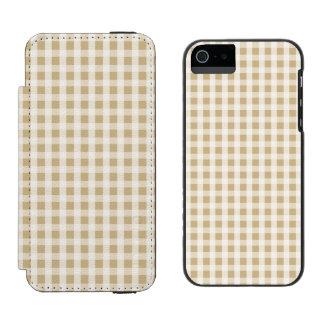 Weihnachtsgoldgingham-Karo-Muster Incipio Watson™ iPhone 5 Geldbörsen Hülle