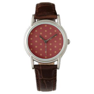 Weihnachtsgoldschneeflockemuster, kundengerechtes armbanduhr