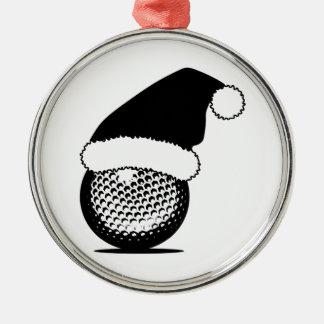 WeihnachtsGolfball Rundes Silberfarbenes Ornament