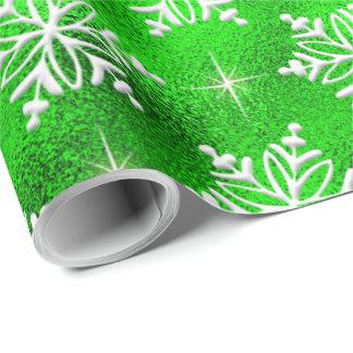 Weihnachtsgrün mit weißen Schneeflocken Geschenkpapier