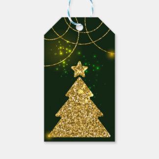 Weihnachtsgrüner Feiertags-Glitter-Schein Geschenkanhänger