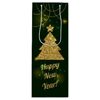 Weihnachtsgrüner Feiertags-Glitter-Schein Geschenktüte Für Weinflaschen