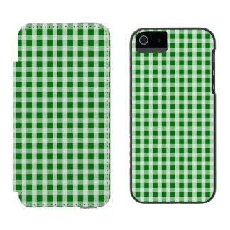 Weihnachtsgrüner Gingham-Karo kariert Incipio Watson™ iPhone 5 Geldbörsen Hülle