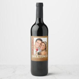 Weihnachtsgruß-GoldFoto-Wein-Flaschen-Aufkleber Weinetikett